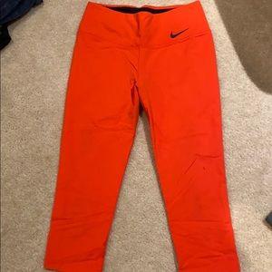 Nike Women's Orange Capri leggings size medium